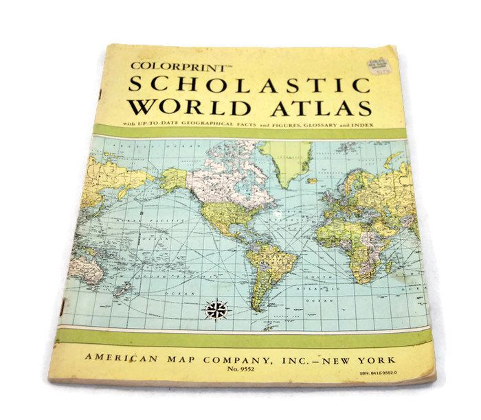 American Map Company Inc.Vintage 1967 Colorprint Scholastic World Atlas Maps For Papercrafts