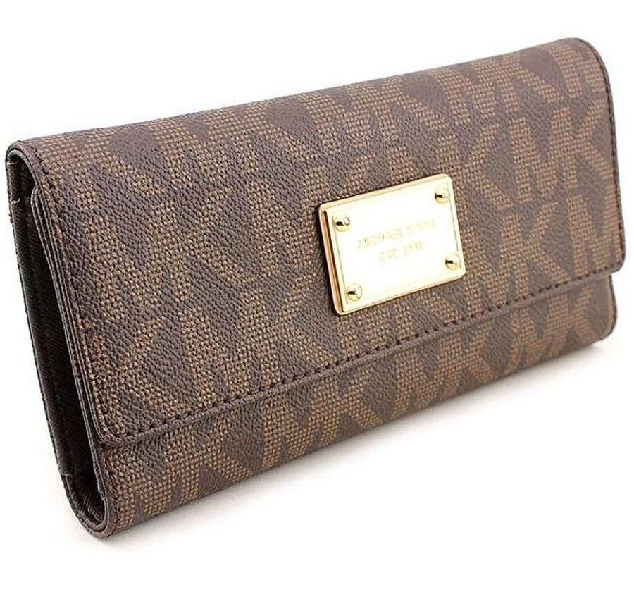 michael kors jet set checkbook wallet in brown and check thanks rh pinterest co uk