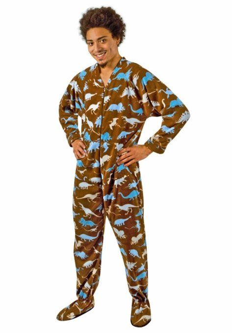 Adult Footed  Pajamas Dinosaur Fleece with Butt Flap  76bc9d8be