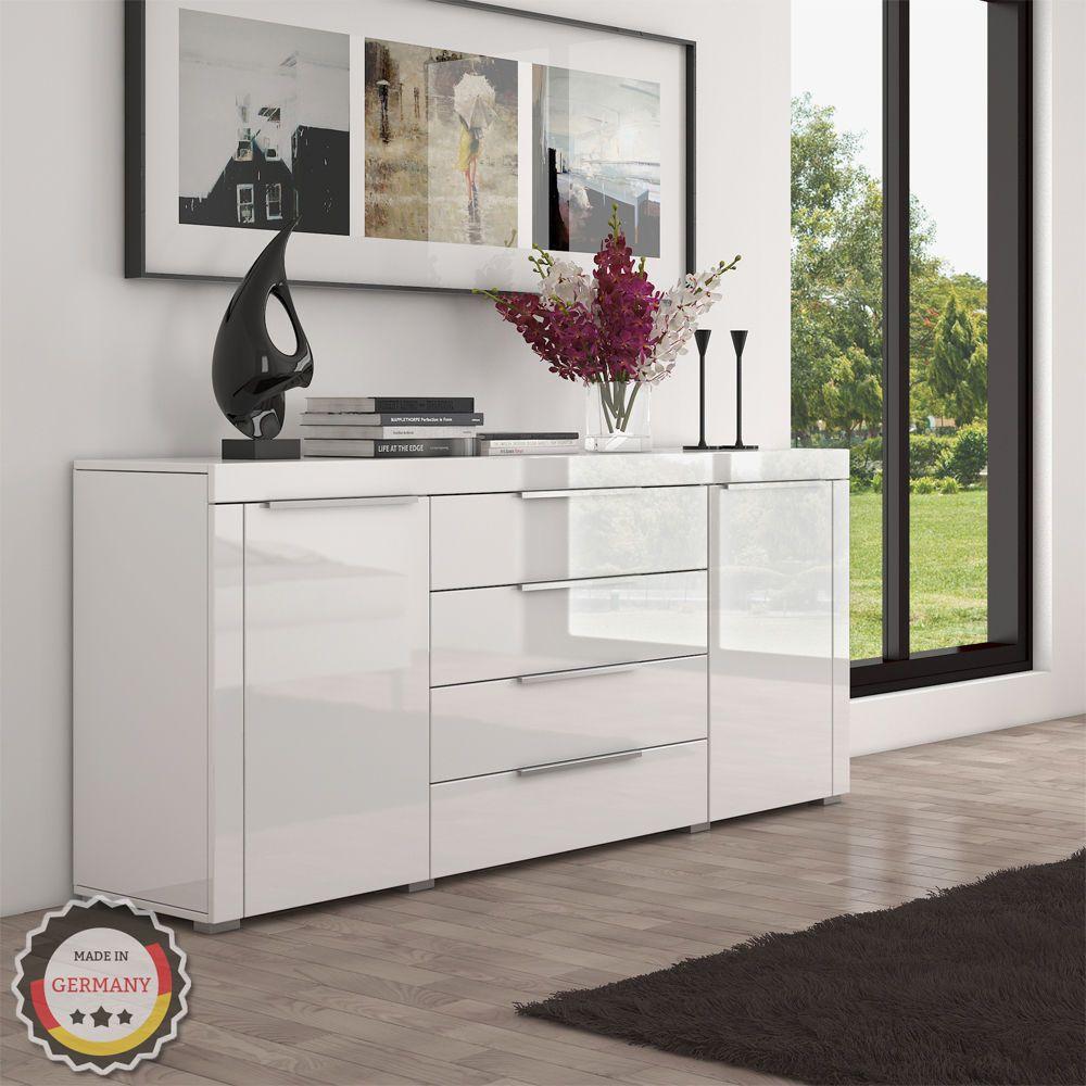 highboard sideboard kommode schrank m bel hochglanz wei. Black Bedroom Furniture Sets. Home Design Ideas