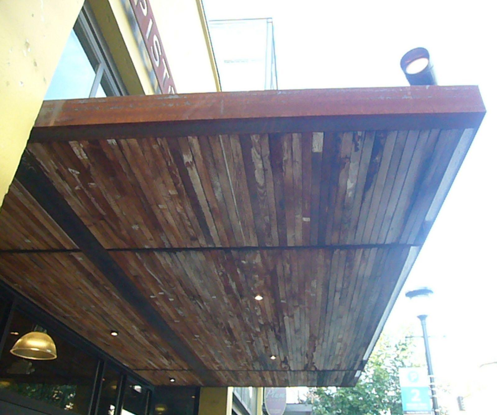 Rusty Metal & Reclaimed Wood Awning in 2020 | Metal awning ...