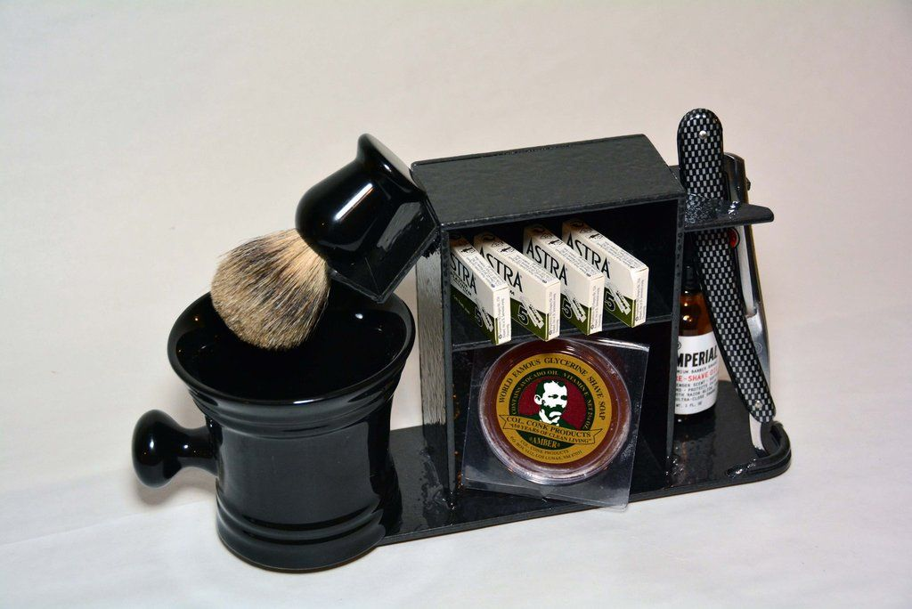 Shaving Stand for Straight Razor, Brush, Cup, and