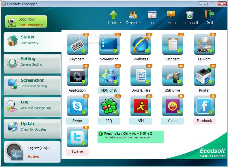برنامج Ecodsoft Keylogger 2.3.36 برنامج مراقبة الجهاز