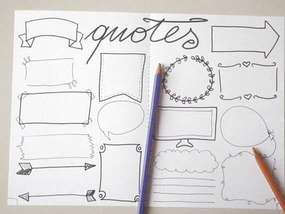 quotes journal blank boxes bujo bullet journal printable Bullet
