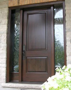 Solid Wood Front Door With Detailed Lights