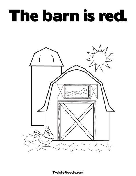 The Barn Is Red Coloring Page Farm Preschool Farm Theme Preschool Farm Books