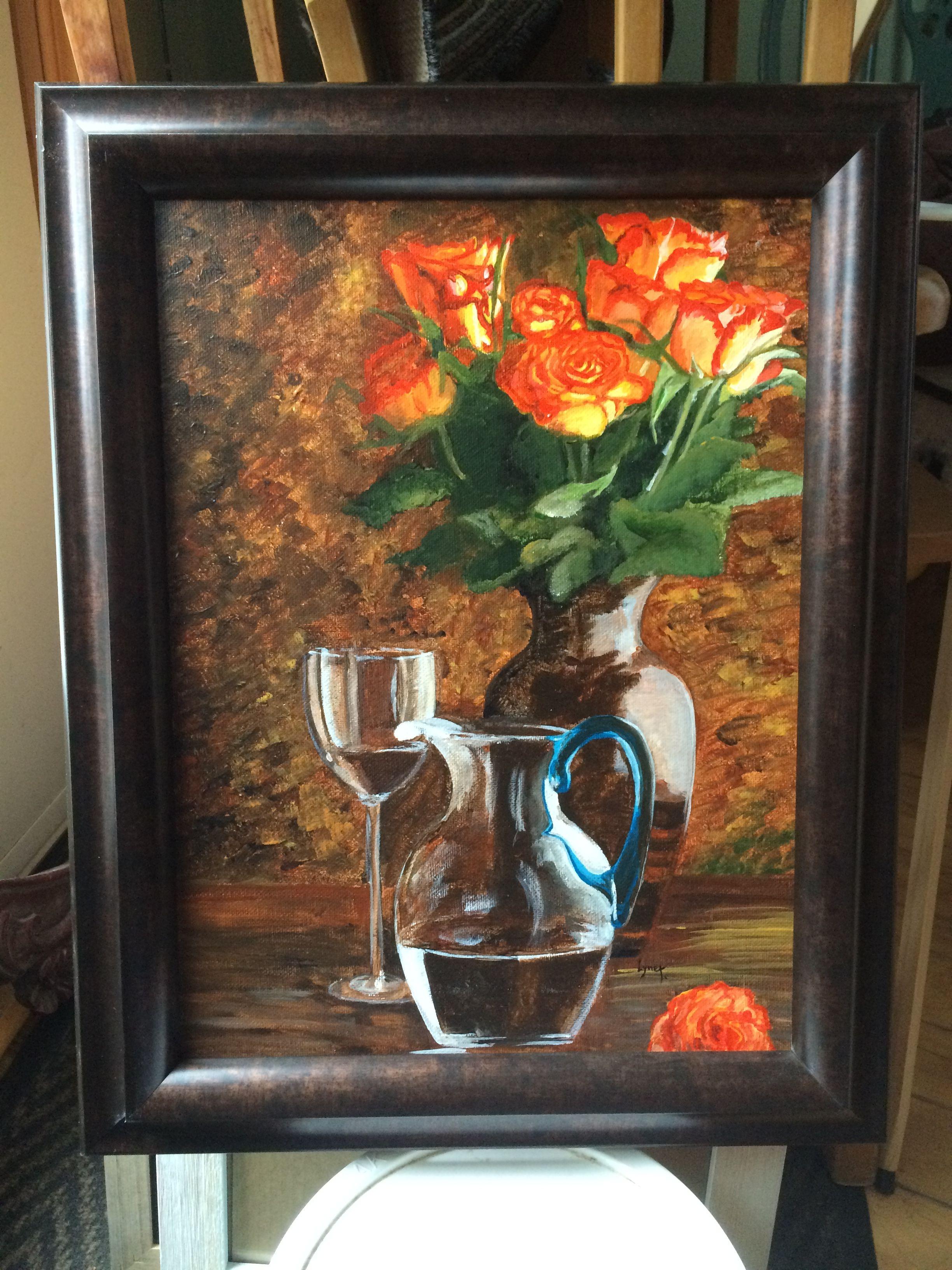 """FLEURS """"Bouquet dans les teintes feutrées"""" Acrylique par Lyne Thériault artiste peintre"""