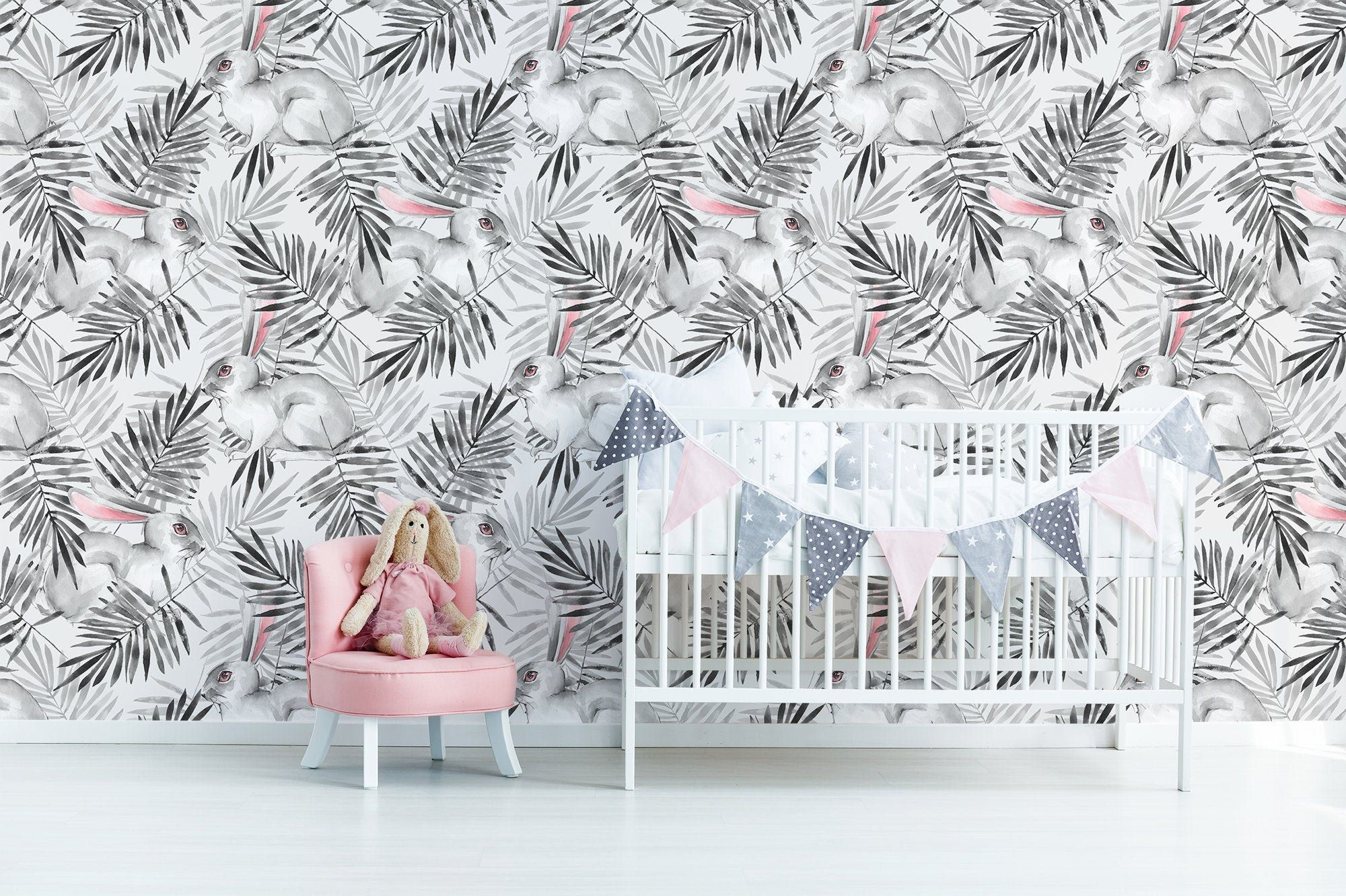 White Rabbits And Leaves Nursery Wallpaper Watercolor Hand Etsy Hand Painted Wall Art Nursery Wallpaper Hand Painted Walls
