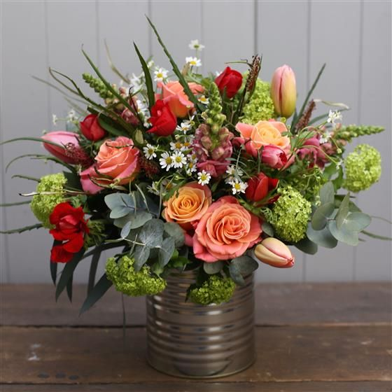 Upcycled Tin Of Seasonal Flowers The Green Room Florist Roundwood Seasonal Flowers Flowers Flower Delivery