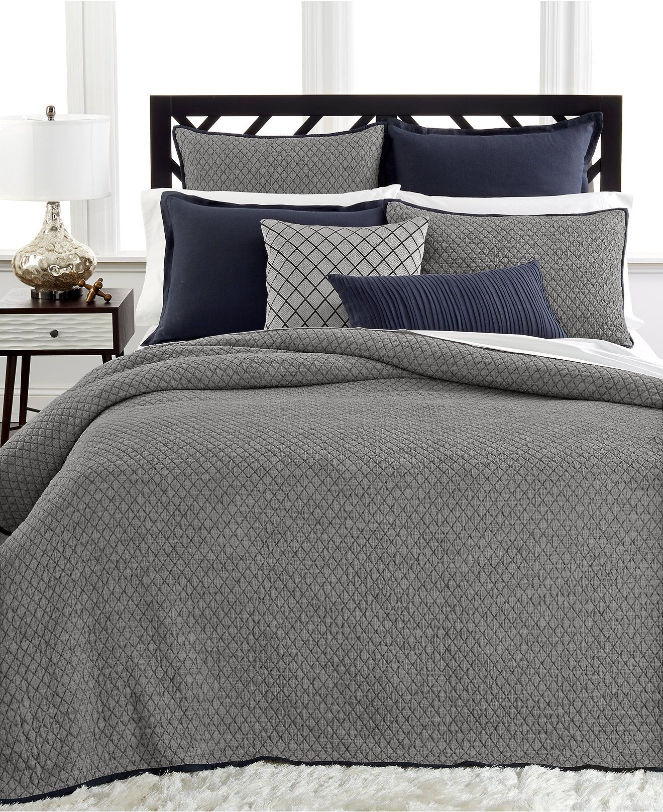 Elegant Hotel Collection Linen Navy Quilted Full/Queen Coverlet   Bedding  Collections   Bed U0026 Bath