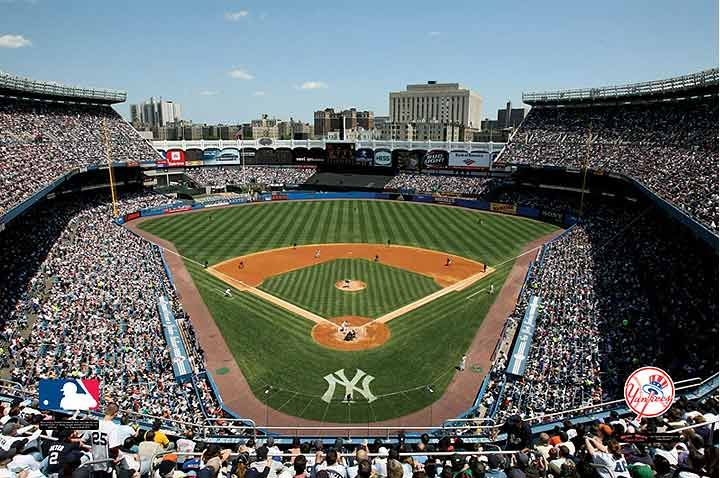 The wall mural - painted like the top of old Yankee stadium.