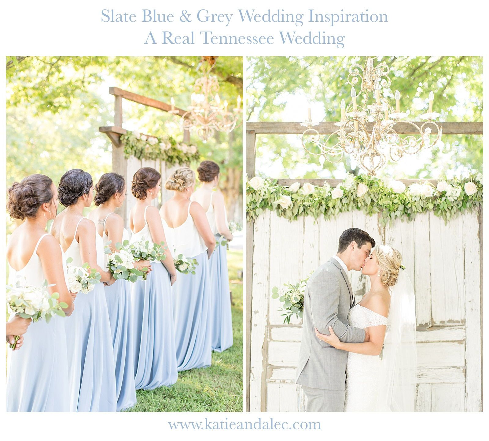 Slate blue wedding decor  Check out this stunning Tennessee Wedding at Antrim Celebrations on