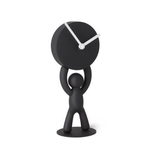 Umbra Buddy Desk Clock, Playful Clock For The Desktop, Soft Touch Finish, Black