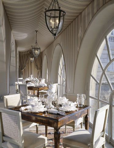 Dining Room Area Fascinating Château En Ile De Francefabric Covered Walls And Tented Ceiling Design Ideas