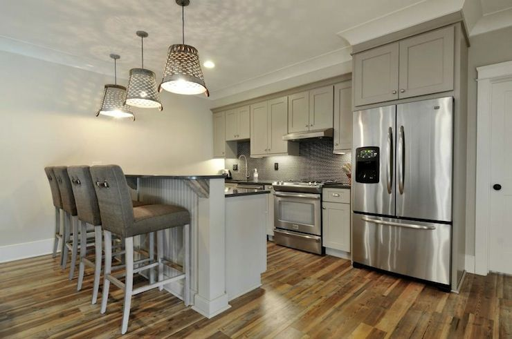 incredible brown color kitchen cabinets | Fabulous kitchen with incredible variegated hardwood ...
