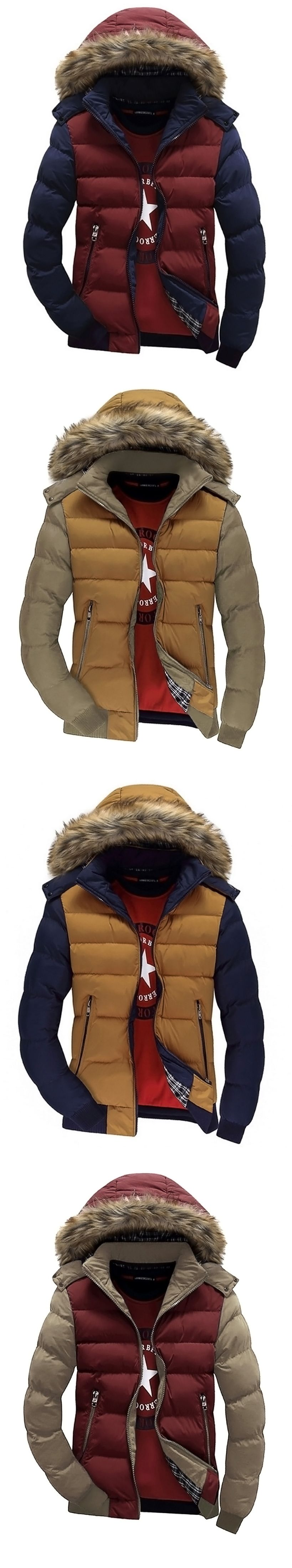Men Casual Parka Down Coat Hooded Padded Zipper Contrast Color Outwear