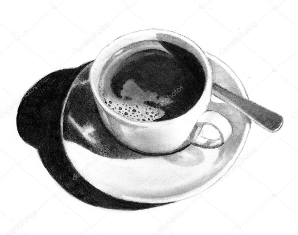 Herunterladen - Bleistiftzeichnung Tasse Kaffee — Stockbild #1744560 ...