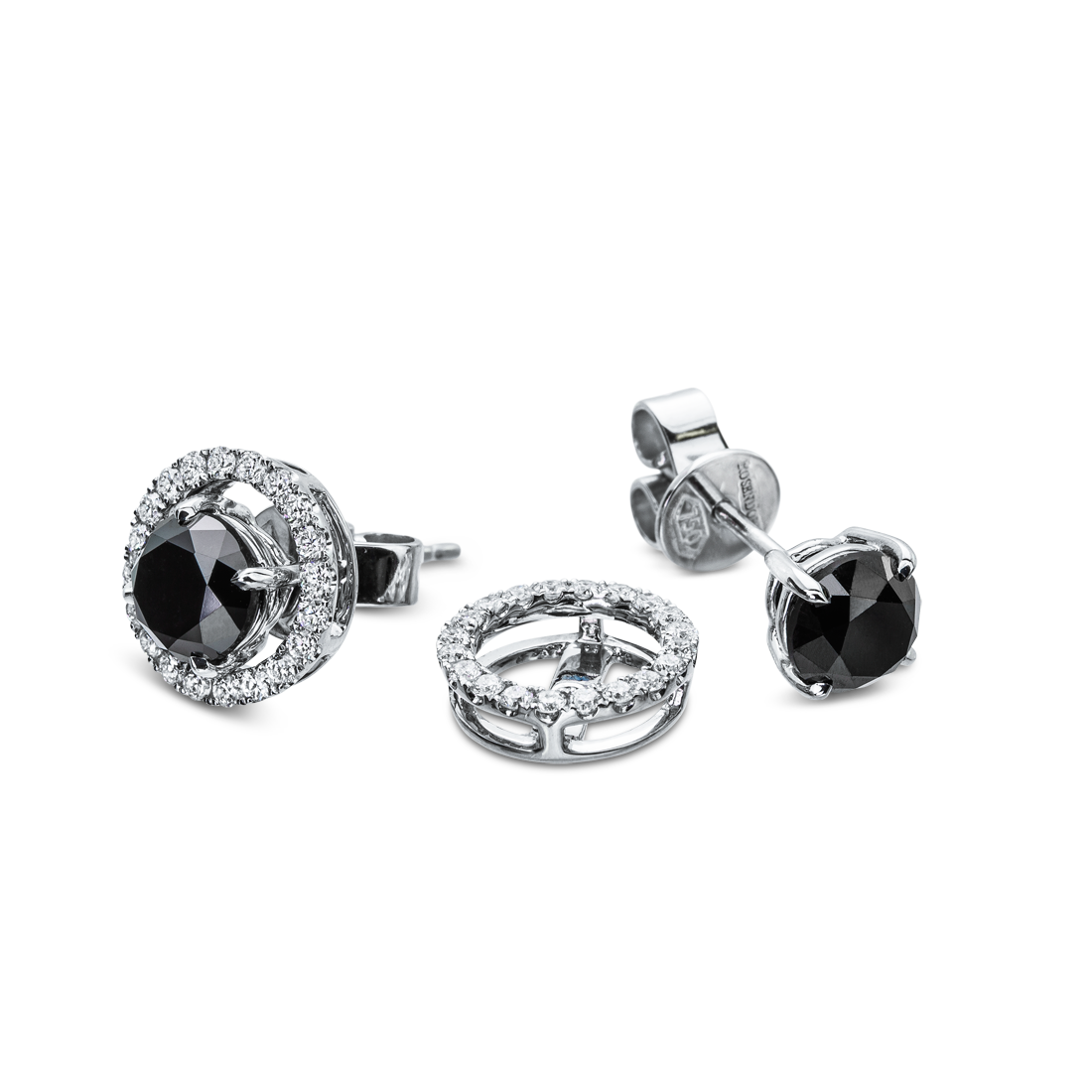 Rosendorff Essentials Collection Black Diamond Stud Earrings with Removable Diamond Halo