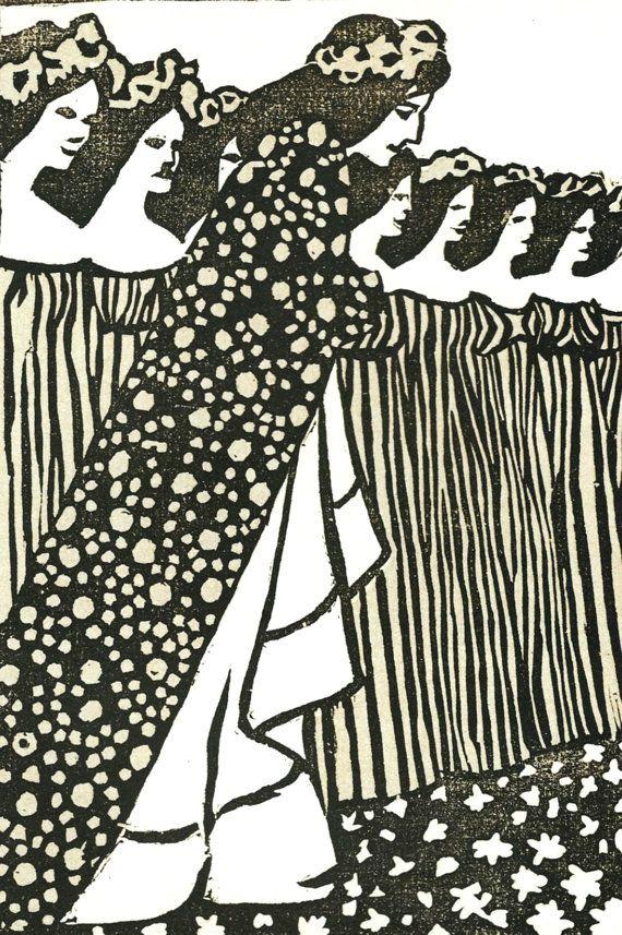 Art nouveau grey princess print by mileva stoisavljevic ver sacrum vintage black white book plate art artist 1984