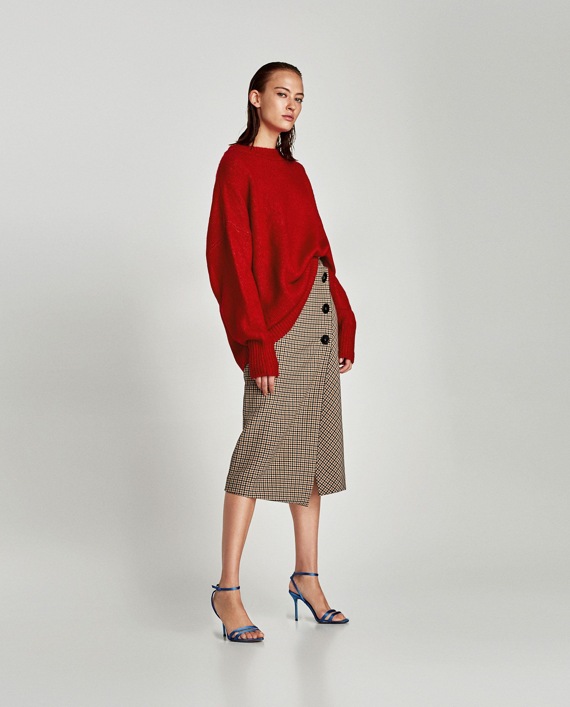 05fdc052d2c5 Image 1 of CHECKED WRAP-STYLE MIDI SKIRT from Zara | buttoned ...