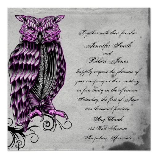 This Beautiful And Elegant Design Called Purple Gothic Owl Posh Wedding Has A Cool Inspired