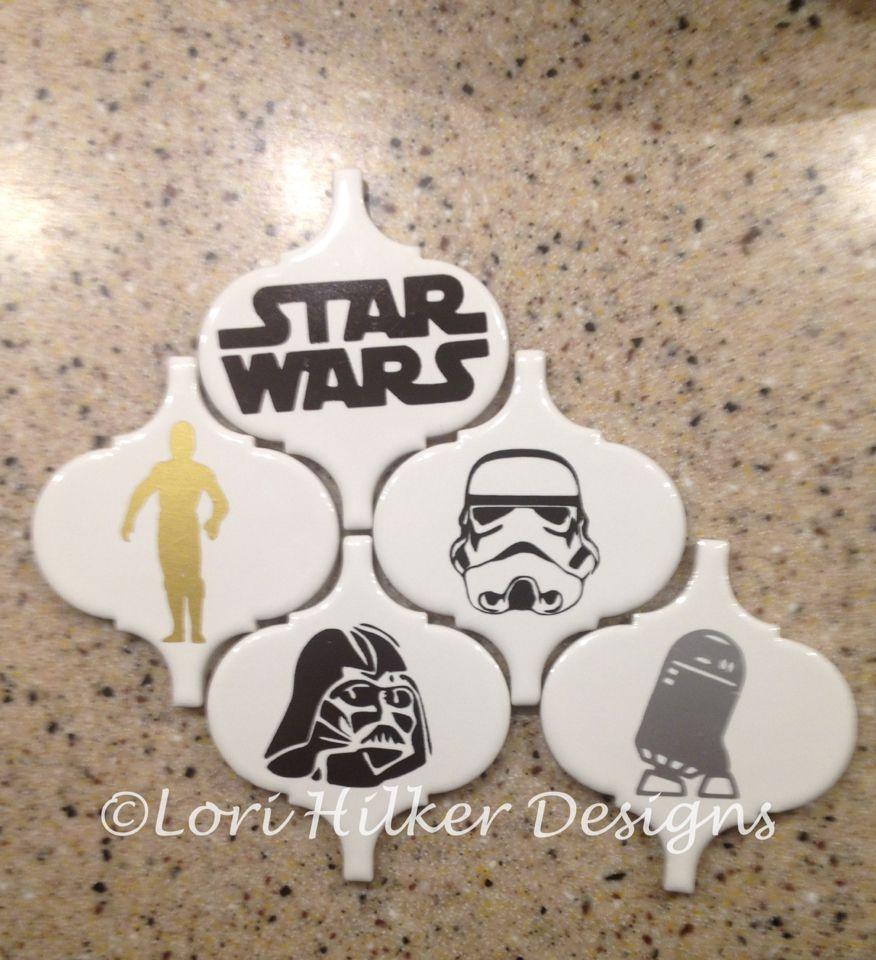 Star Wars Ornaments Vinyl On Ceramic Tiles Christmas Ornament Crafts Christmas Orniments Christmas Craft Fair