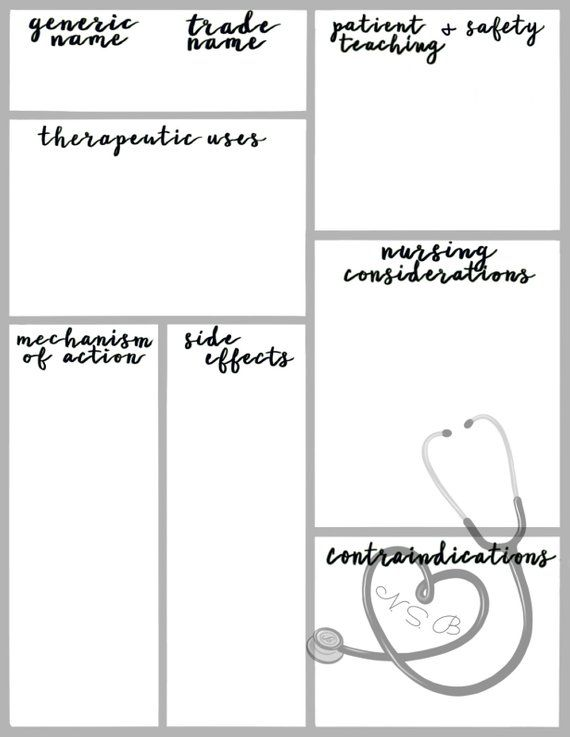 Pharmacology Graphic Organizer Printable Template for Nursing Students (Black and White) #nursingstudents