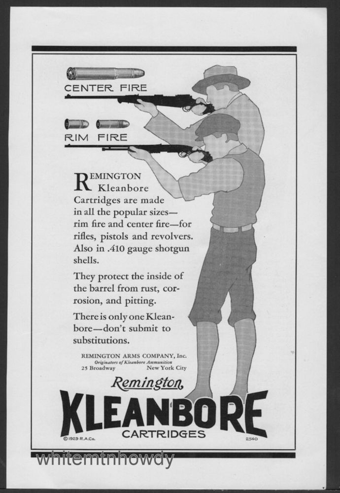 Details about 1929 REMINGTON Kleanbore Ammunition AD Vintage Antique