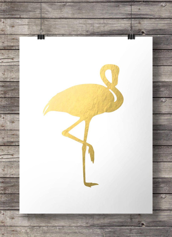 Faux gold foil Flamingo print | Printable wall art | Gold flamingo ...