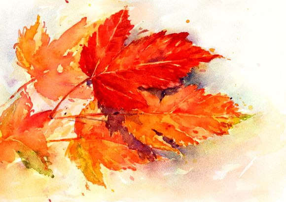 First Day Of Fall Watercolor Trees Watercolor Leaves Autumn Leaves