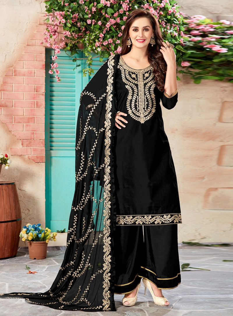 Black chanderi palazzo style suit indian wear and dresses