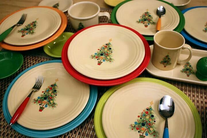 Fiestaware Christmas Tree With Different Colored Plates