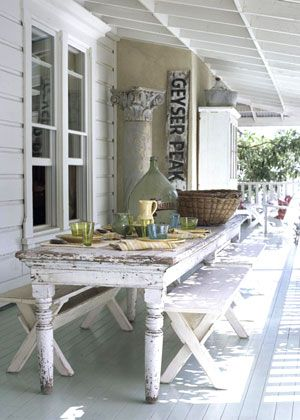 country patio. rustic deck. shabby chic deck. farmhouse porch. Original photo from Country Home magazine.
