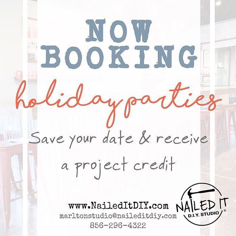 Holiday party planning is in full swing at Nailed It! Don't wait too long to book yours! . . #naileditdiy #marltonnj #mtlaurelnj #evedhamnj #medfordnj #cherryhillnj #southjersey #holidaypartyvenue #holidays #teambuilding #officeparty #gathertogether #privateevents #diyparty #diyhomedecor #woodsigns