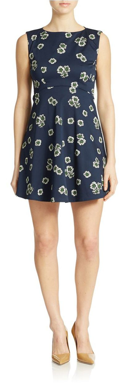 French Connection Floral Fit and Flare Dress Nocturnal Blue