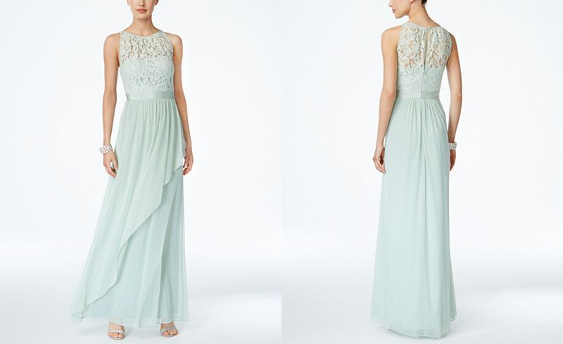 Adrianna Papell Lace Illusion Halter Gown - Dresses - Women - Macy's