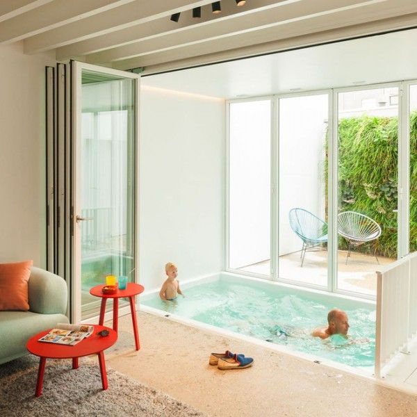 Small Indoor Pool Nested In A Tiny Minimalist Belgium House