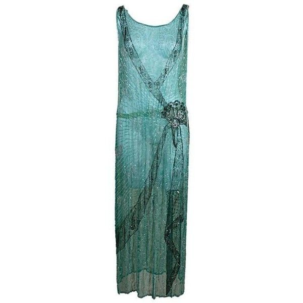 Preowned 1920s Turquoise Tabard-style Beaded Flapper Dress ($1,200) ❤ liked on Polyvore featuring dresses, blue, blue green dress, 1920s dress, beaded flapper dress, gatsby dress and blue floral dress