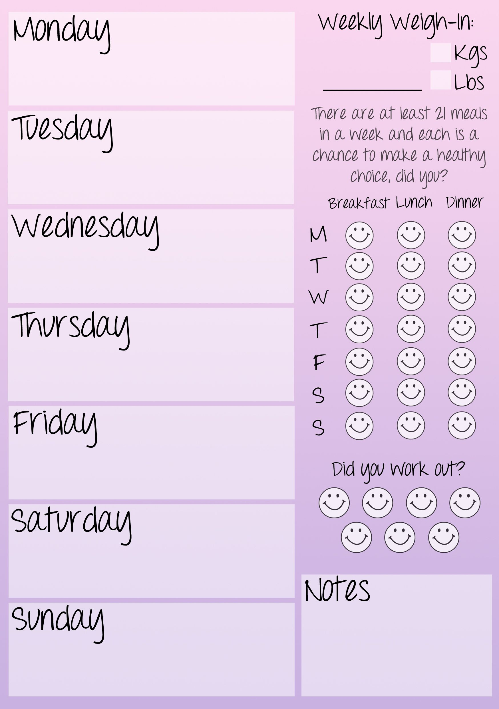 Weekly fitness journal printable! | Low Fat Diet ...