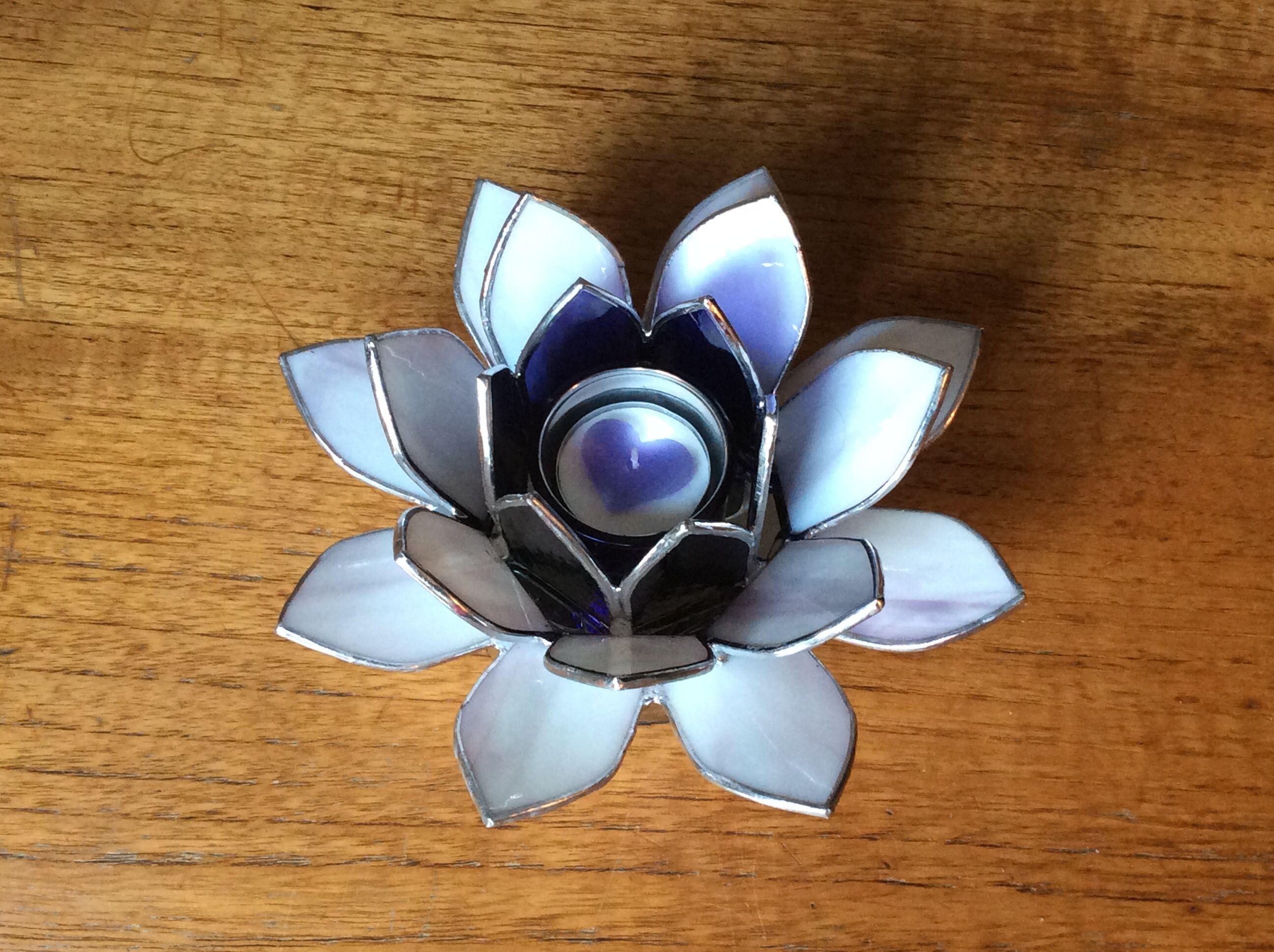 Lotus flower tea light holder in stained glass glass delight lotus flower tea light holder in stained glass izmirmasajfo