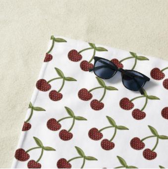 Vintage Cherry Pattern On White Beach Towel