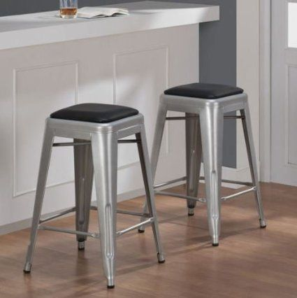 Tabouret 24 Inch Padded Metal Counter Stool Set Of 2 Condo Decor