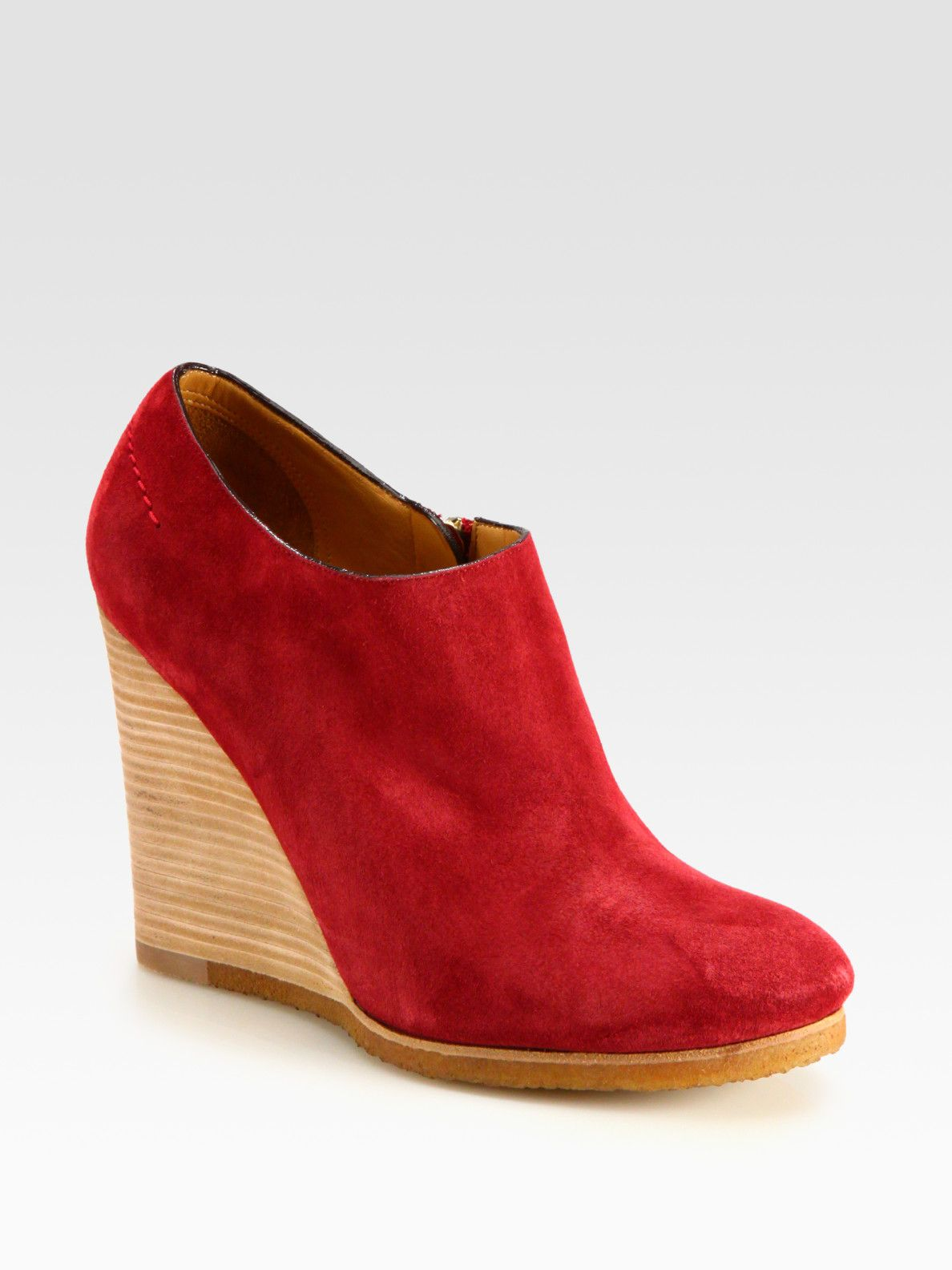 acadc3a8374 Chloé Suede Wedge Ankle Boots in Red (sangria) | Lyst | Shoes Shoes ...