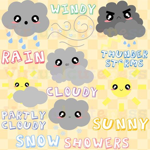 Weather Clipart - Forecast, Planner Clip Art, Weekly Planner, Scrapbook, Digital Stickers, Cute, Kawaii, Free Commercial and Personal Use