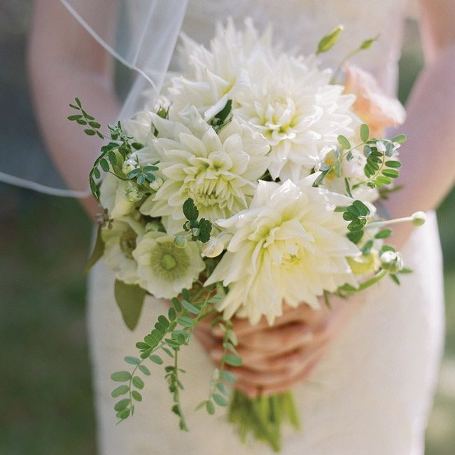 Caitlin S Green And White Bouquet Of Dahlias Was Wrapped In The