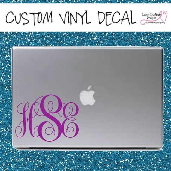 VINYL DECAL Letter Monogram For By LauraWashburnDesigns On Etsy - Custom vinyl decals macbook