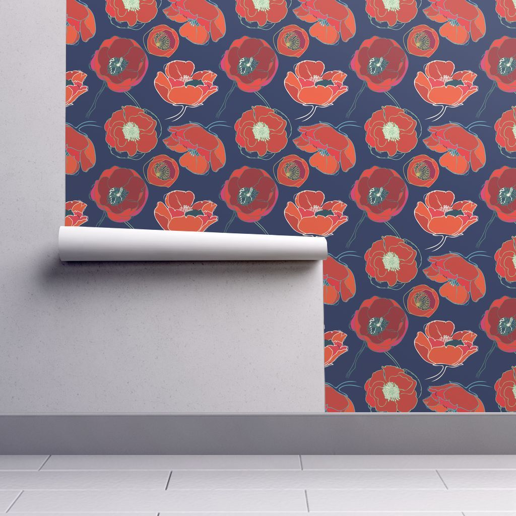 Colorful Fabrics Digitally Printed By Spoonflower California Poppies Poppy Wallpaper Peel And Stick Wallpaper Self Adhesive Wallpaper
