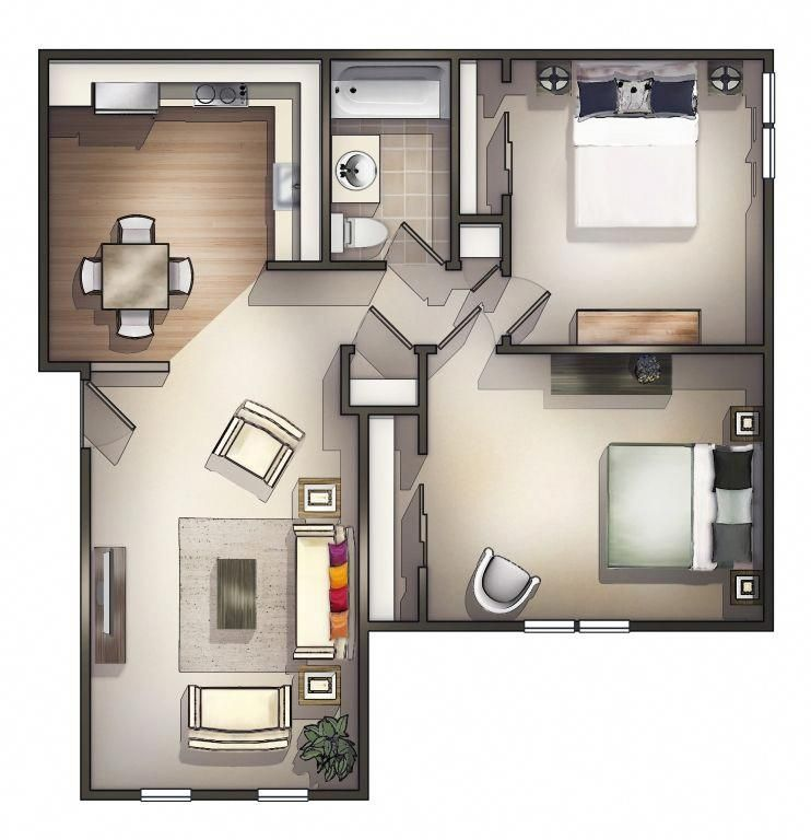 2 Bedroom Apartment House Plans Two Bedroom Floor Plan Apartment Floor Plans Apartment Design