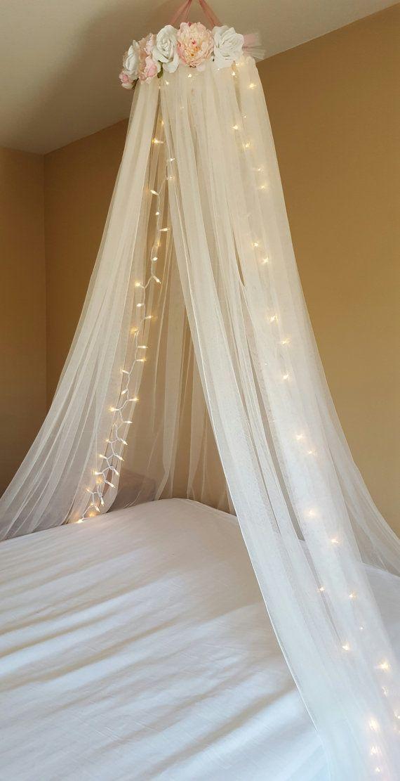 Attraktiv Blush Pink U0026 White Floral Canopy  Nursery Crib Canopy  Bed Canopy  Crib  Canopy  Flower Canopy  Lighted Canopy  Princess Canopy  Baby Girl |  Baldachin, Bett ...