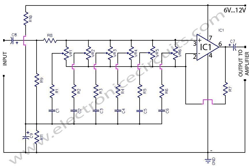 6 Band Graphic Equaliser Circuit Using 741 Op Amp Bass Treble Control Equalizer Audio Amplifier Electronics Circuit
